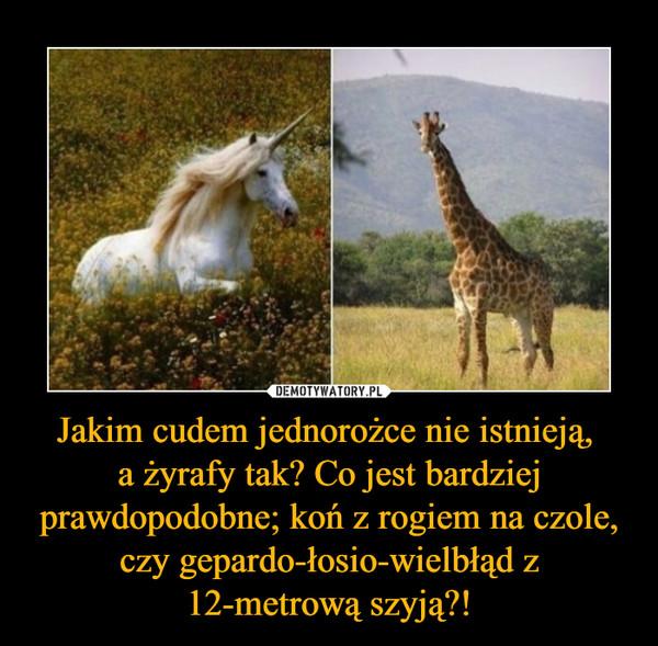 Jakim cudem jednorożce nie istnieją, a żyrafy tak? Co jest bardziej prawdopodobne; koń z rogiem na czole, czy gepardo-łosio-wielbłąd z 12-metrową szyją?! –