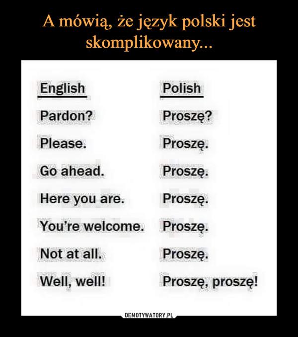 –  PolishEnglishProszę?Pardon?ProszęPlease.Go ahead.Proszę.ProszęHere you are.You're welcome. ProszęProszęNot at all.Well, well!Proszę, proszę!