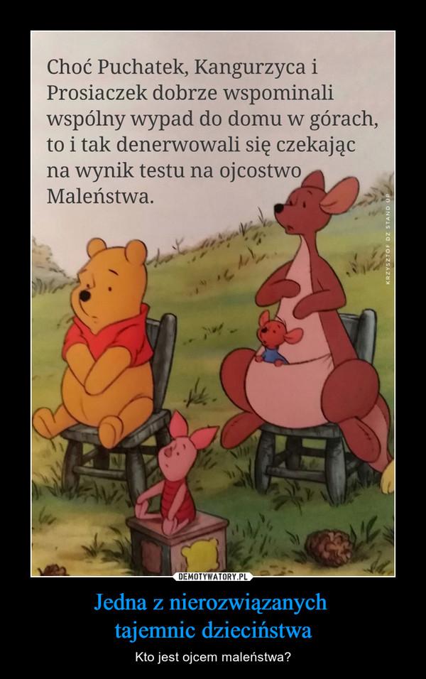 Jedna z nierozwiązanych tajemnic dzieciństwa – Kto jest ojcem maleństwa? Choć Puchatek, Kangurzyca i Prosiaczek dobrze wspominali wspólny wypad do domu w górach, to i tak denerwowali się czekając na wynik testu na ojcostwo Maleństwa.