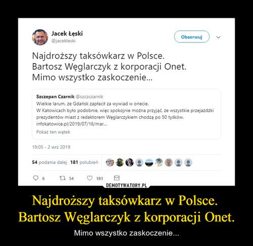 Najdroższy taksówkarz w Polsce.  Bartosz Węglarczyk z korporacji Onet.