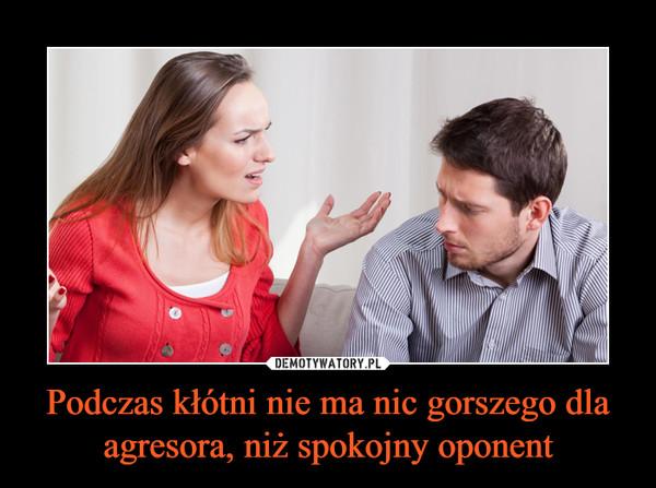 Podczas kłótni nie ma nic gorszego dla agresora, niż spokojny oponent –
