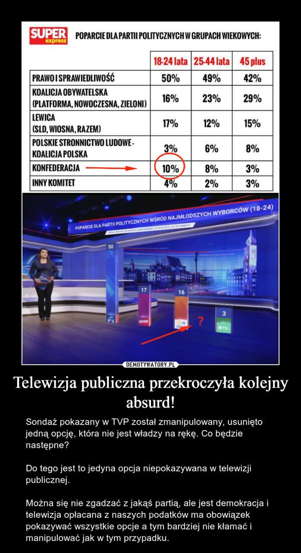 Telewizja publiczna przekroczyła kolejny absurd! – Sondaż pokazany w TVP został zmanipulowany, usunięto jedną opcję, która nie jest władzy na rękę. Co będzie następne?Do tego jest to jedyna opcja niepokazywana w telewizji publicznej.Można się nie zgadzać z jakąś partią, ale jest demokracja i telewizja opłacana z naszych podatków ma obowiązek pokazywać wszystkie opcje a tym bardziej nie kłamać i manipulować jak w tym przypadku.