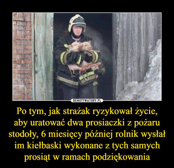 Po tym, jak strażak ryzykował życie,aby uratować dwa prosiaczki z pożaru stodoły, 6 miesięcy później rolnik wysłał im kiełbaski wykonane z tych samych prosiąt w ramach podziękowania –