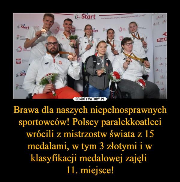 Brawa dla naszych niepełnosprawnych sportowców! Polscy paralekkoatleci wrócili z mistrzostw świata z 15 medalami, w tym 3 złotymi i w klasyfikacji medalowej zajęli 11. miejsce! –