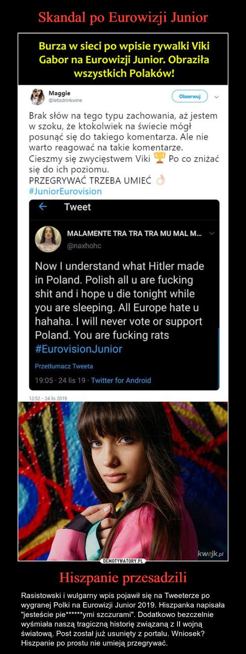Skandal po Eurowizji Junior Hiszpanie przesadzili