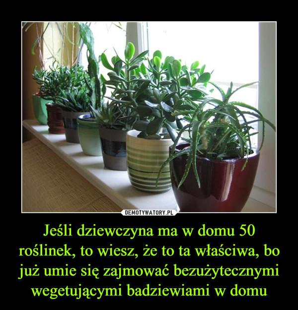 Jeśli dziewczyna ma w domu 50 roślinek, to wiesz, że to ta właściwa, bo już umie się zajmować bezużytecznymi wegetującymi badziewiami w domu –