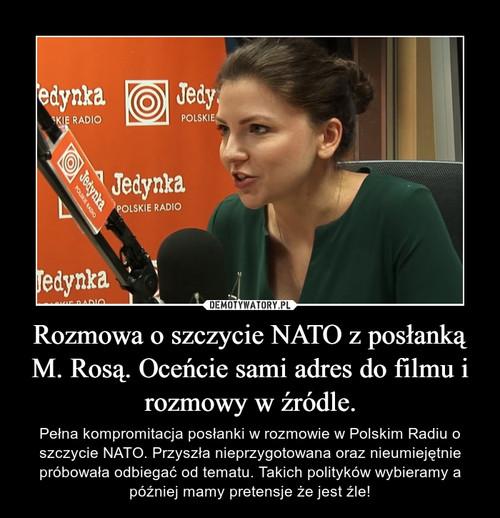 Rozmowa o szczycie NATO z posłanką M. Rosą. Oceńcie sami adres do filmu i rozmowy w źródle.