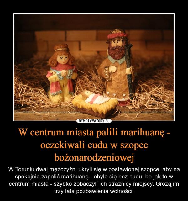W centrum miasta palili marihuanę - oczekiwali cudu w szopce bożonarodzeniowej – W Toruniu dwaj mężczyźni ukryli się w postawionej szopce, aby na spokojnie zapalić marihuanę - obyło się bez cudu, bo jak to w centrum miasta - szybko zobaczyli ich strażnicy miejscy. Grożą im trzy lata pozbawienia wolności.