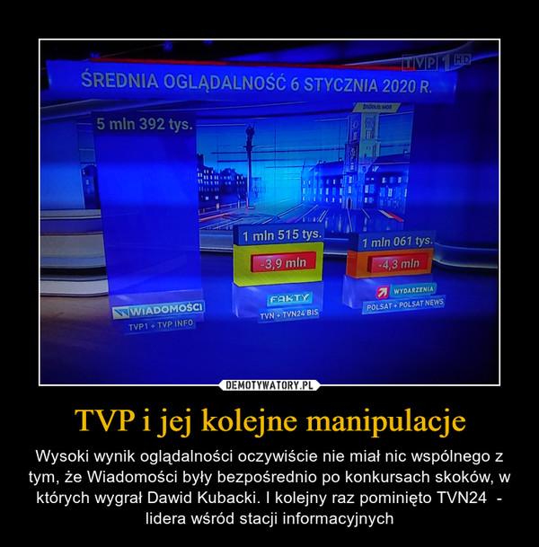 TVP i jej kolejne manipulacje – Wysoki wynik oglądalności oczywiście nie miał nic wspólnego z tym, że Wiadomości były bezpośrednio po konkursach skoków, w których wygrał Dawid Kubacki. I kolejny raz pominięto TVN24  - lidera wśród stacji informacyjnych