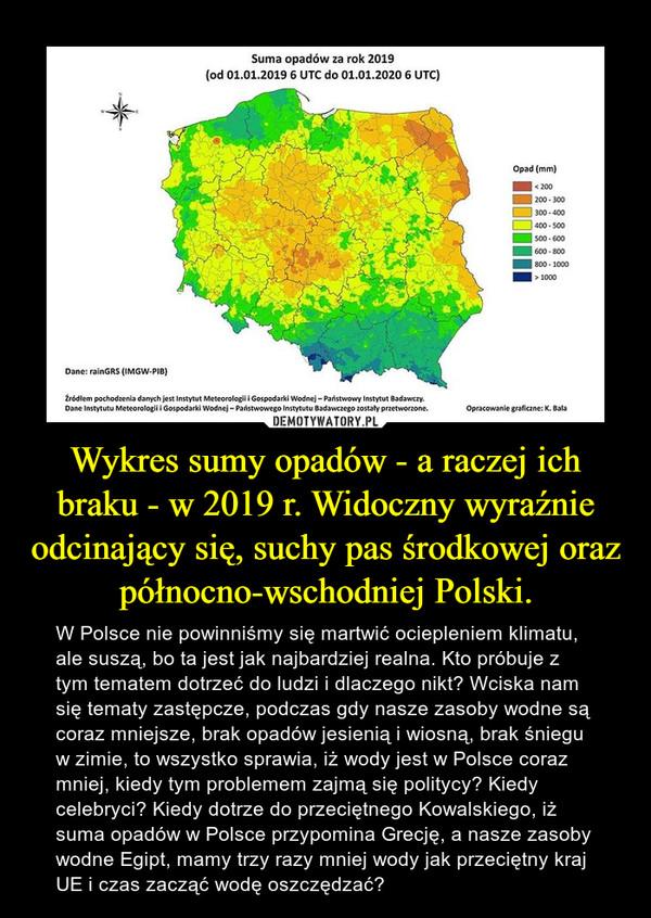 Wykres sumy opadów - a raczej ich braku - w 2019 r. Widoczny wyraźnie odcinający się, suchy pas środkowej oraz północno-wschodniej Polski. – W Polsce nie powinniśmy się martwić ociepleniem klimatu, ale suszą, bo ta jest jak najbardziej realna. Kto próbuje z tym tematem dotrzeć do ludzi i dlaczego nikt? Wciska nam się tematy zastępcze, podczas gdy nasze zasoby wodne są coraz mniejsze, brak opadów jesienią i wiosną, brak śniegu w zimie, to wszystko sprawia, iż wody jest w Polsce coraz mniej, kiedy tym problemem zajmą się politycy? Kiedy celebryci? Kiedy dotrze do przeciętnego Kowalskiego, iż suma opadów w Polsce przypomina Grecję, a nasze zasoby wodne Egipt, mamy trzy razy mniej wody jak przeciętny kraj UE i czas zacząć wodę oszczędzać?