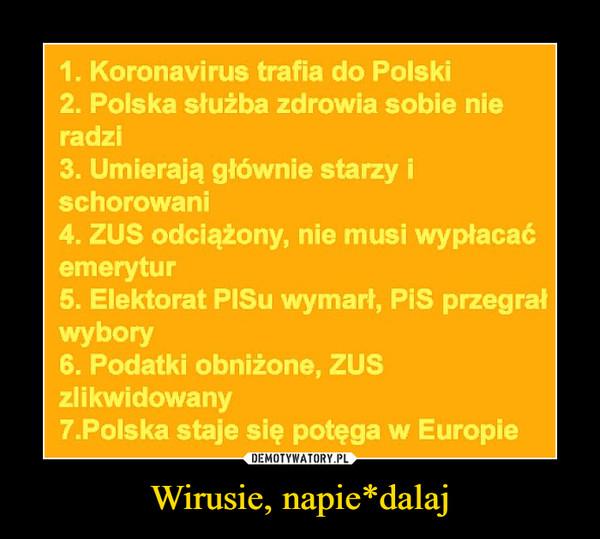 Wirusie, napie*dalaj –  1. Koronavirus trafia do Polski 2. Polska służba zdrowia sobie nie radzi 3. Umierają głównie starzy i schorowani 4. ZUS odciążony, nie musi wypłacać emerytur 5. Elektorat PISu wymarł, PIS przegrał wybory 6. Podatki obniżone, ZUS zlikwidowany 7.Polska staje się potęga w Europie