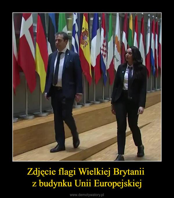 Zdjęcie flagi Wielkiej Brytanii z budynku Unii Europejskiej –
