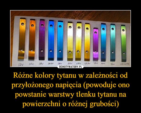 Różne kolory tytanu w zależności od przyłożonego napięcia (powoduje ono powstanie warstwy tlenku tytanu na powierzchni o różnej grubości) –