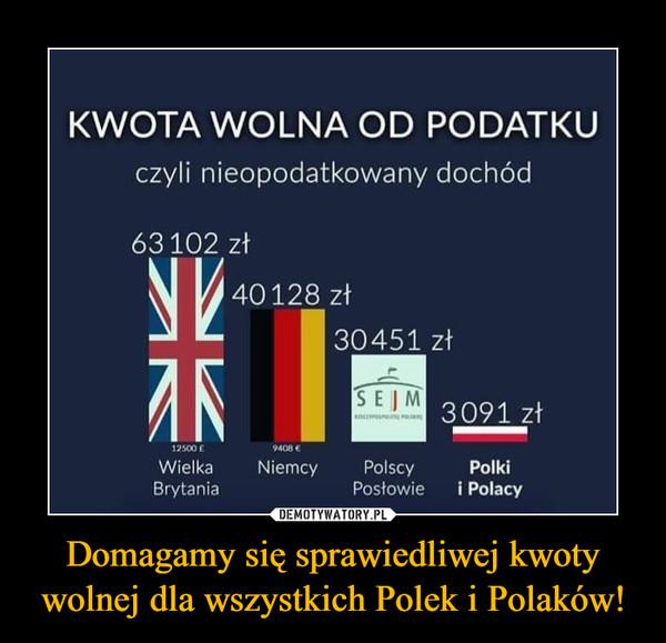Domagamy się sprawiedliwej kwoty wolnej dla wszystkich Polek i Polaków! –  KWOTA WOLNA OD PODATKU czyli nieopodatkowany dochód