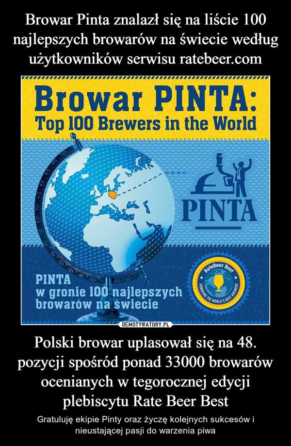 Polski browar uplasował się na 48. pozycji spośród ponad 33000 browarów ocenianych w tegorocznej edycji plebiscytu Rate Beer Best – Gratuluję ekipie Pinty oraz życzę kolejnych sukcesów i nieustającej pasji do warzenia piwa