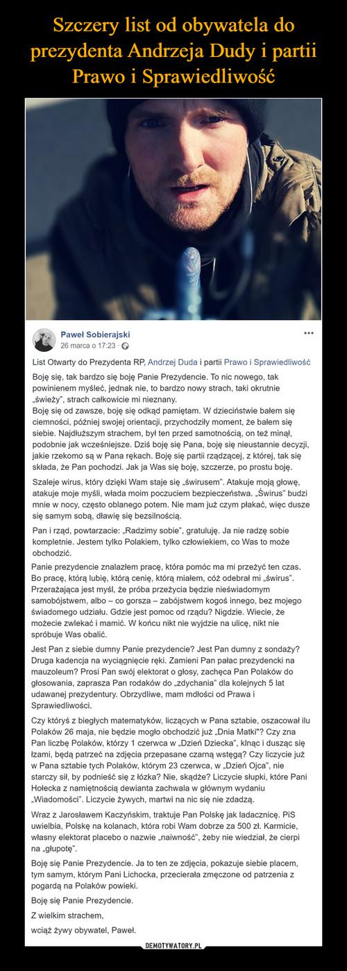 Szczery list od obywatela do prezydenta Andrzeja Dudy i partii Prawo i Sprawiedliwość
