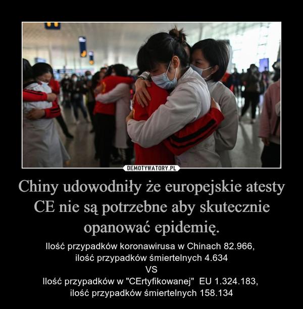 """Chiny udowodniły że europejskie atesty CE nie są potrzebne aby skutecznie opanować epidemię. – Ilość przypadków koronawirusa w Chinach 82.966, ilość przypadków śmiertelnych 4.634VSIlość przypadków w """"CErtyfikowanej""""  EU 1.324.183, ilość przypadków śmiertelnych 158.134"""