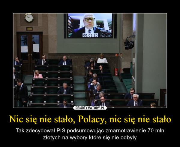 Nic się nie stało, Polacy, nic się nie stało – Tak zdecydował PIS podsumowując zmarnotrawienie 70 mln złotych na wybory które się nie odbyły