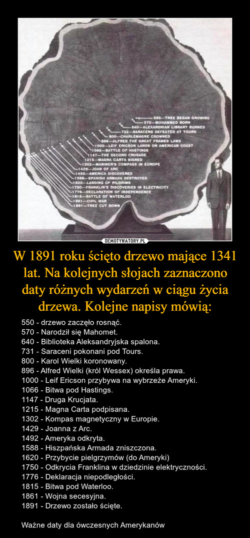 W 1891 roku ścięto drzewo mające 1341 lat. Na kolejnych słojach zaznaczono daty różnych wydarzeń w ciągu życia drzewa. Kolejne napisy mówią:
