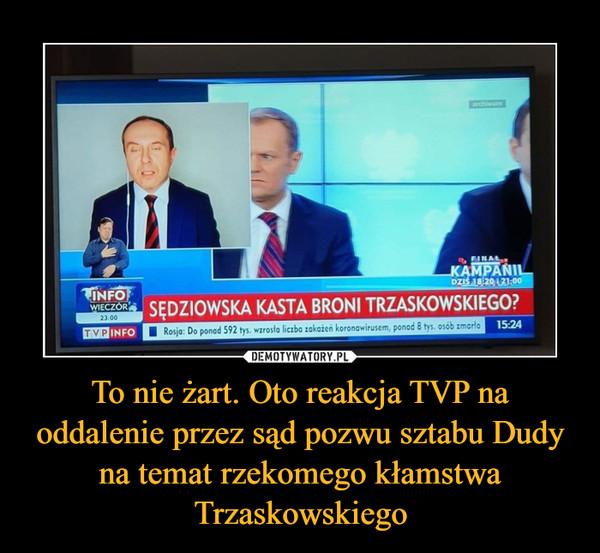 To nie żart. Oto reakcja TVP na oddalenie przez sąd pozwu sztabu Dudy na temat rzekomego kłamstwa Trzaskowskiego –