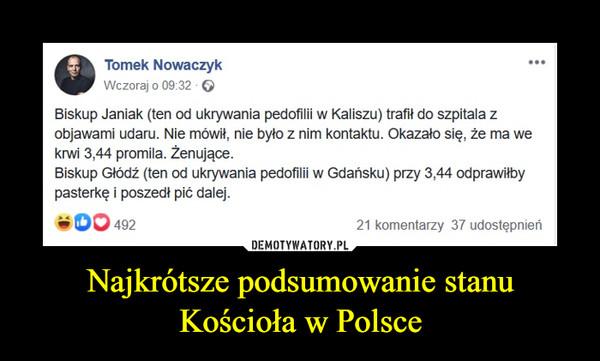 Najkrótsze podsumowanie stanu Kościoła w Polsce –  Biskup Janiak (ten od ukrywania pedofilii w Kaliszu) trafił do szpitala z objawami udaru. Nie mówił, nie było z nim kontaktu. Okazało się, że ma we krwi 3,44 promila. Żenujące. Biskup Głódź (ten od ukrywania pedofilii w Gdańsku) przy 3,44 odprawiłby pasterkę i poszedł pić dalej