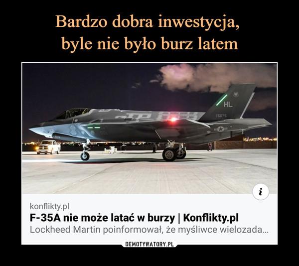 –  konflikty.plF-35A nie może latać w burzy | Konflikty.plLockheed Martin poinformował, że myśliwce wielozada...
