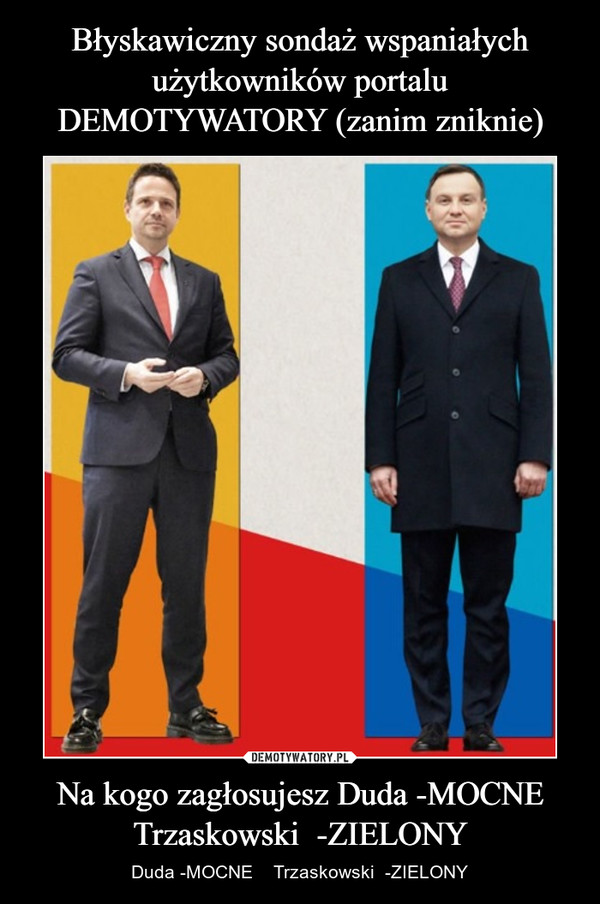Na kogo zagłosujesz Duda -MOCNE Trzaskowski  -ZIELONY – Duda -MOCNE    Trzaskowski  -ZIELONY