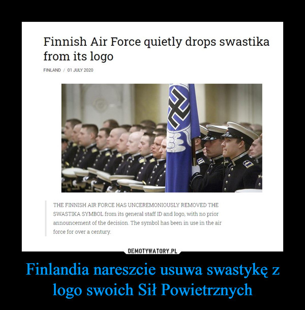 Finlandia nareszcie usuwa swastykę z logo swoich Sił Powietrznych –