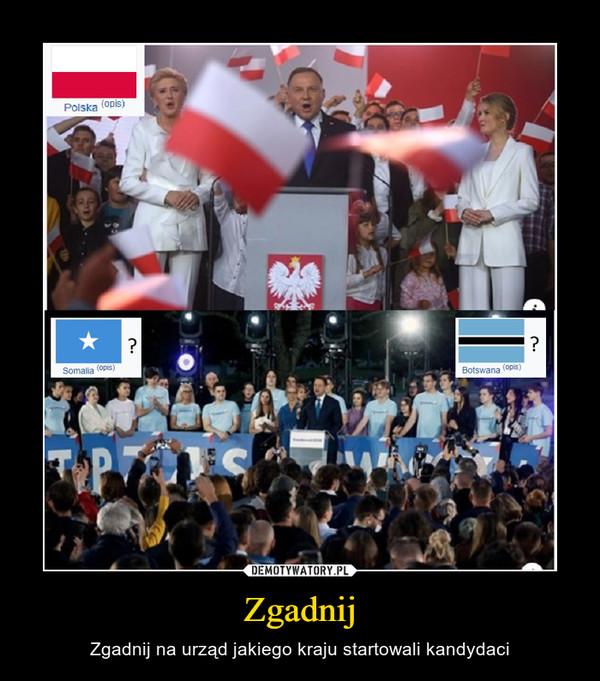 Zgadnij – Zgadnij na urząd jakiego kraju startowali kandydaci
