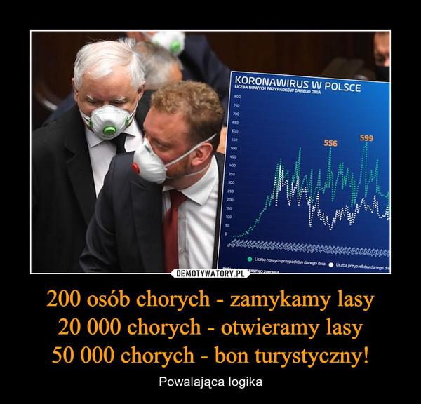 200 osób chorych - zamykamy lasy20 000 chorych - otwieramy lasy50 000 chorych - bon turystyczny! – Powalająca logika