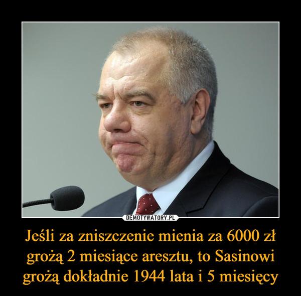 Jeśli za zniszczenie mienia za 6000 zł grożą 2 miesiące aresztu, to Sasinowi grożą dokładnie 1944 lata i 5 miesięcy –