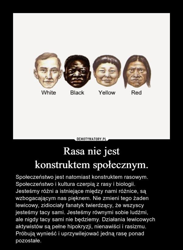 Rasa nie jestkonstruktem społecznym. – Społeczeństwo jest natomiast konstruktem rasowym.Społeczeństwo i kultura czerpią z rasy i biologii.Jesteśmy różni a istniejące między nami różnice, są wzbogacającym nas pięknem. Nie zmieni tego żaden lewicowy, zidiociały fanatyk twierdzący, że wszyscy jesteśmy tacy sami. Jesteśmy równymi sobie ludźmi,ale nigdy tacy sami nie będziemy. Działania lewicowych aktywistów są pełne hipokryzji, nienawiści i rasizmu. Próbują wynieść i uprzywilejować jedną rasę ponad pozostałe.