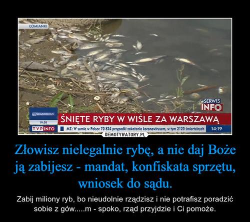Złowisz nielegalnie rybę, a nie daj Boże ją zabijesz - mandat, konfiskata sprzętu, wniosek do sądu.