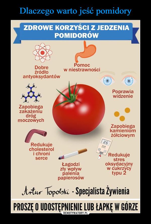 –  ZDROWE KORZYŚCI Z JEDZENIAPOMIDORÓWPomocw niestrawnościDobreźródłoantyoksydantówPoprawiawidzenieZapobiegazakażeniudrógmoczowychZapobiegakamieniomżółciowym2.5Redukujecholesteroli chroniRedukujestresoksydacyjnyw cukrzycytypu 2serceŁagodzizły wpływpaleníapapierosówArtur Topolski - Specjalista ŻywieniaPROSZĘ O UDOSTĘPNIENIE LUB ŁAPKĘ W GÓRZE