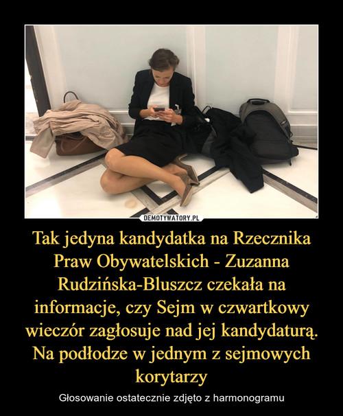Tak jedyna kandydatka na Rzecznika Praw Obywatelskich - Zuzanna Rudzińska-Bluszcz czekała na informacje, czy Sejm w czwartkowy wieczór zagłosuje nad jej kandydaturą. Na podłodze w jednym z sejmowych korytarzy