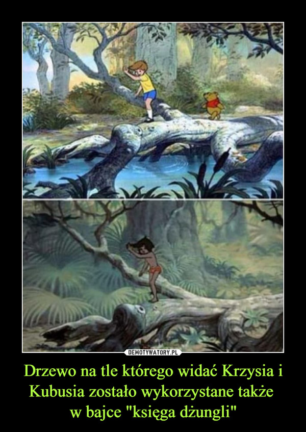 """Drzewo na tle którego widać Krzysia i Kubusia zostało wykorzystane także w bajce """"księga dżungli"""" –"""