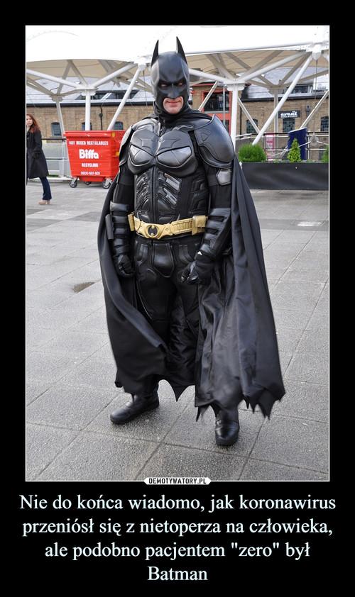 """Nie do końca wiadomo, jak koronawirus przeniósł się z nietoperza na człowieka, ale podobno pacjentem """"zero"""" był Batman"""