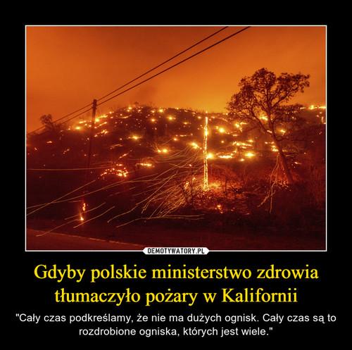 Gdyby polskie ministerstwo zdrowia tłumaczyło pożary w Kalifornii