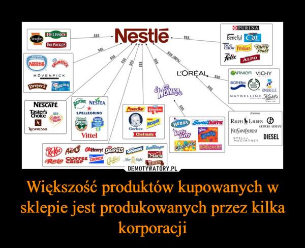 Większość produktów kupowanych w sklepie jest produkowanych przez kilka korporacji –