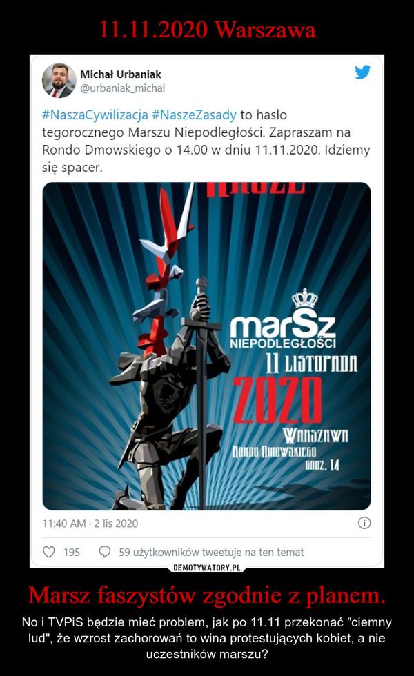 """Marsz faszystów zgodnie z planem. – No i TVPiS będzie mieć problem, jak po 11.11 przekonać """"ciemny lud"""", że wzrost zachorowań to wina protestujących kobiet, a nie uczestników marszu?"""
