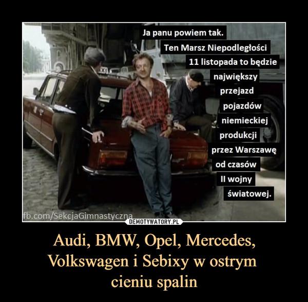 Audi, BMW, Opel, Mercedes, Volkswagen i Sebixy w ostrym cieniu spalin –  Ja panu powiem tak.Ten Marsz Niepodległości11 listopada to będzienajwiększyprzejazdpojazdówniemieckiejprodukcjiprzez Warszawęod czasówII wojnycom/S@kčjaGimnastycznaświatowej.