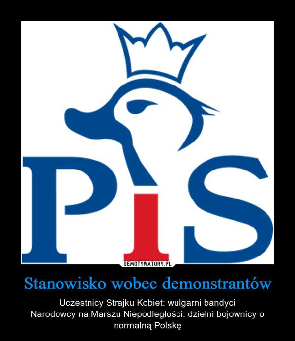 Stanowisko wobec demonstrantów – Uczestnicy Strajku Kobiet: wulgarni bandyciNarodowcy na Marszu Niepodległości: dzielni bojownicy o normalną Polskę
