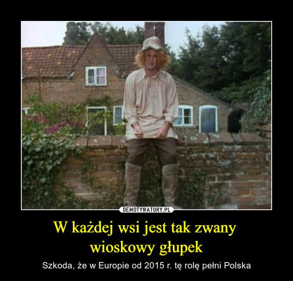 W każdej wsi jest tak zwany wioskowy głupek – Szkoda, że w Europie od 2015 r. tę rolę pełni Polska