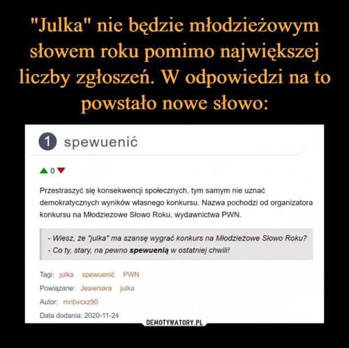 """""""Julka"""" nie będzie młodzieżowym słowem roku pomimo największej liczby zgłoszeń. W odpowiedzi na to powstało nowe słowo:"""