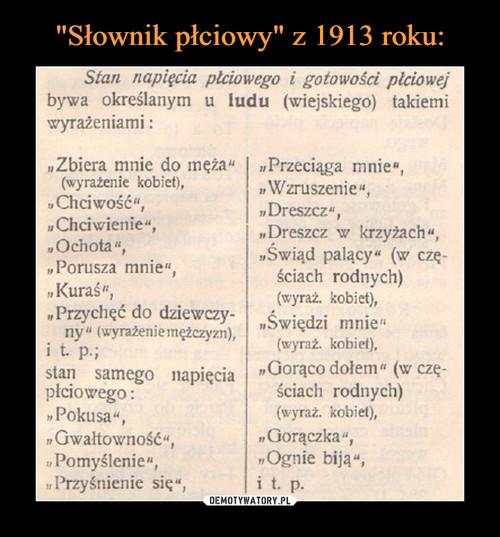 """""""Słownik płciowy"""" z 1913 roku:"""