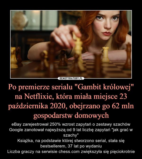 """Po premierze serialu """"Gambit królowej"""" na Netflixie, która miała miejsce 23 października 2020, obejrzano go 62 mln gospodarstw domowych – eBay zarejestrował 250% wzrost zapytań o zestawy szachówGoogle zanotował najwyższą od 9 lat liczbę zapytań """"jak grać w szachy""""Książka, na podstawie której stworzono serial, stała się bestsellerem, 37 lat po wydaniuLiczba graczy na serwisie chess.com zwiększyła się pięciokrotnie"""