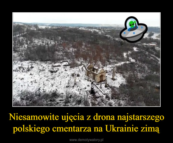 Niesamowite ujęcia z drona najstarszego polskiego cmentarza na Ukrainie zimą –