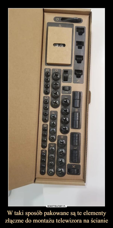 W taki sposób pakowane są te elementy złączne do montażu telewizora na ścianie –