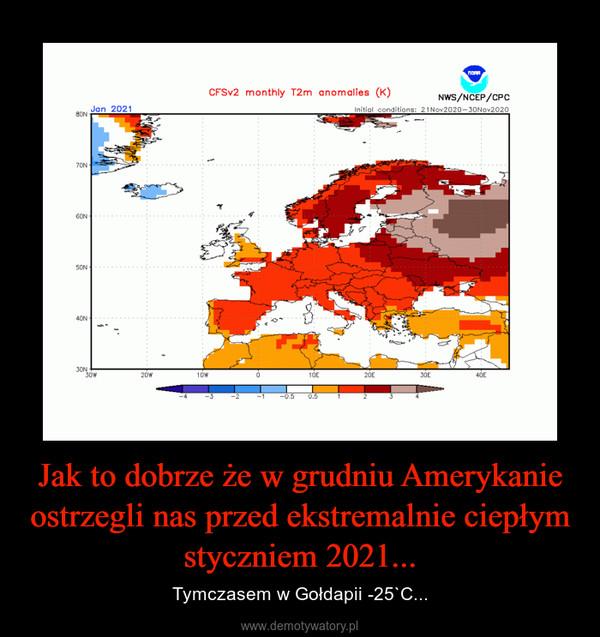 Jak to dobrze że w grudniu Amerykanie ostrzegli nas przed ekstremalnie ciepłym styczniem 2021... – Tymczasem w Gołdapii -25`C...