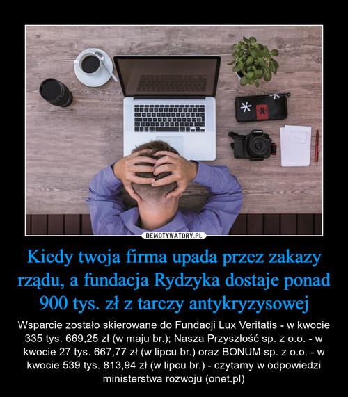 Kiedy twoja firma upada przez zakazy rządu, a fundacja Rydzyka dostaje ponad 900 tys. zł z tarczy antykryzysowej